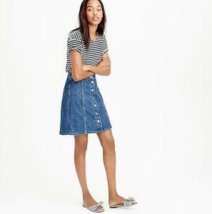 J. Crew button up front denim mini skirt